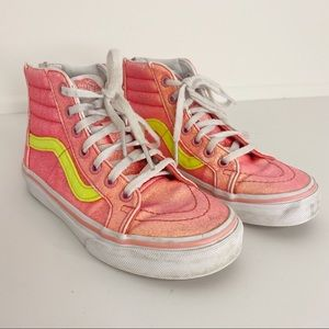 VANS Back Zip Glittery High Top Sneakers Girl's 13